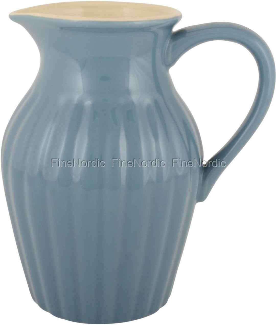ib laursen geschirr kanne aus keramik mit rillen blau mynte cornflower. Black Bedroom Furniture Sets. Home Design Ideas