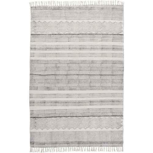 Ib Laursen Teppich  Off White mit Schwarzen Blockdruck