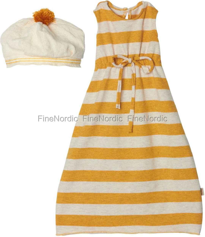 maileg kaninchen kleidung mega kleid mit gelben streifen. Black Bedroom Furniture Sets. Home Design Ideas