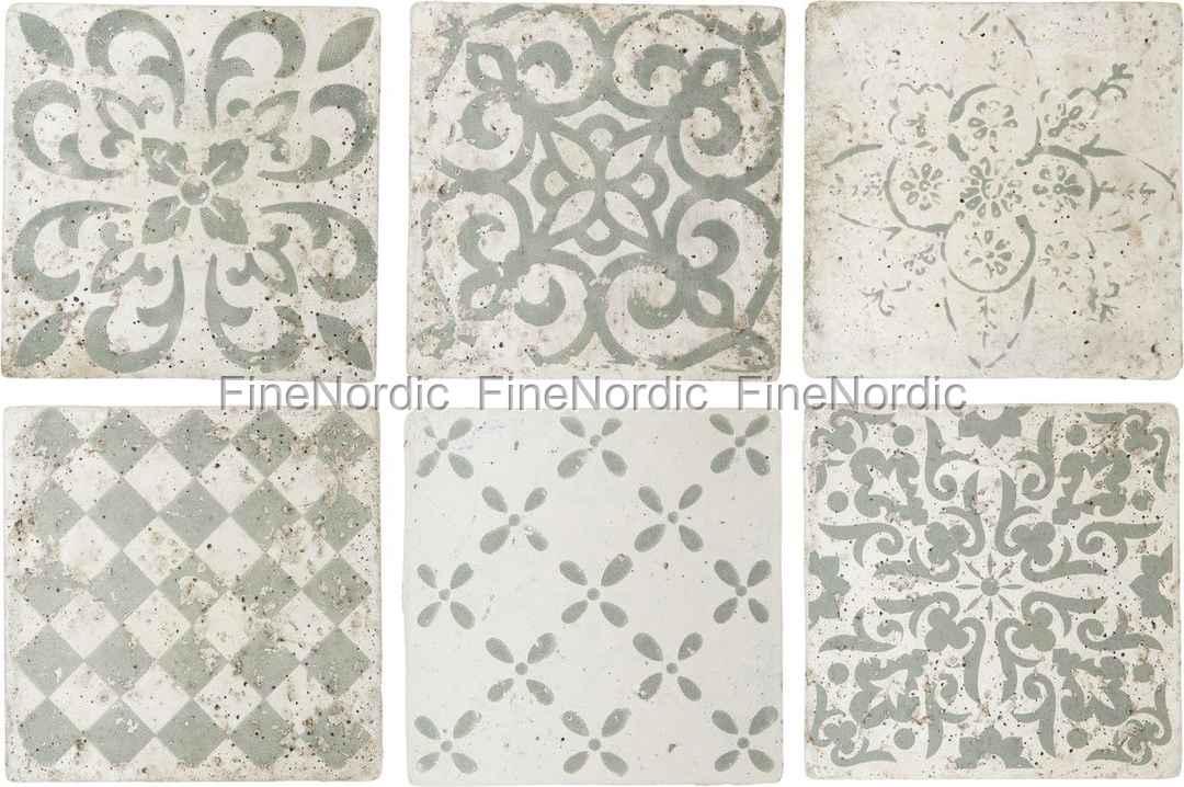 Ib Laursen Fliesen Marrakech - 6er Set Muster in Grün - Medium
