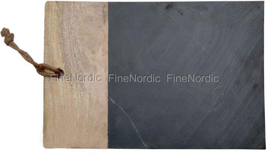 A.U Maison Schiefer Schneidebrett mit Hartholz Schwarz L 45 cm
