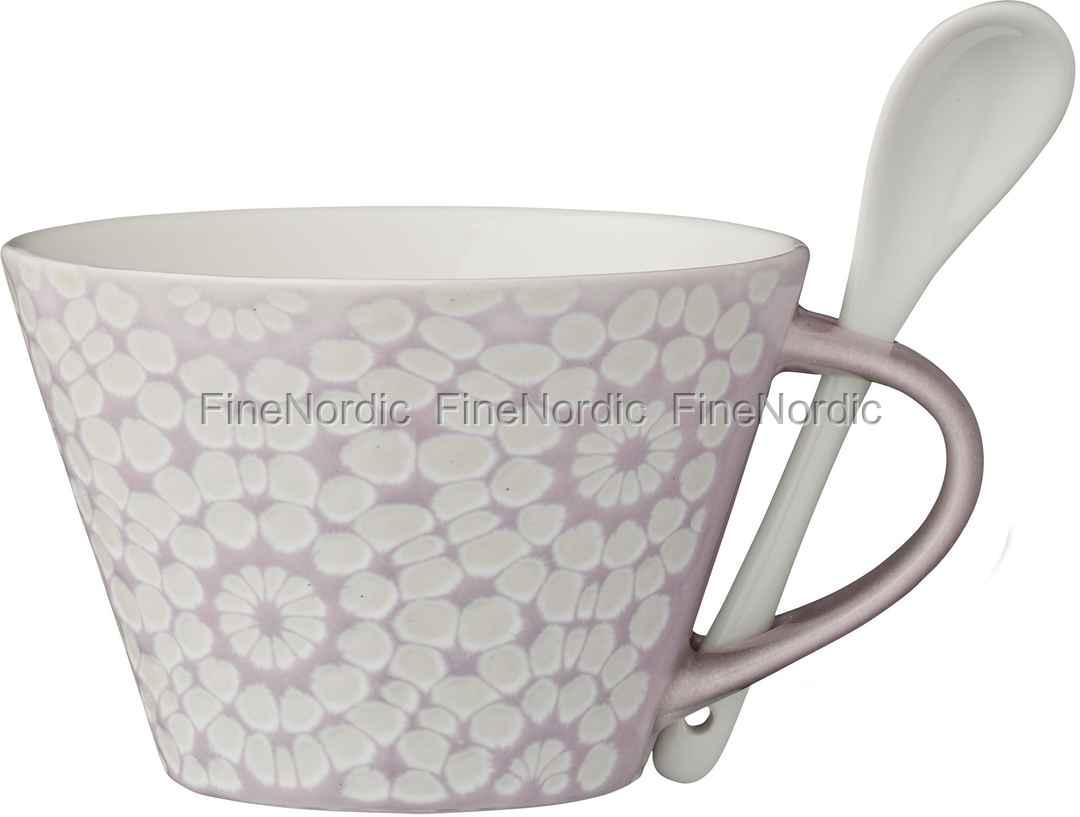 lene bjerre tasse mit l ffel abella violet grey. Black Bedroom Furniture Sets. Home Design Ideas