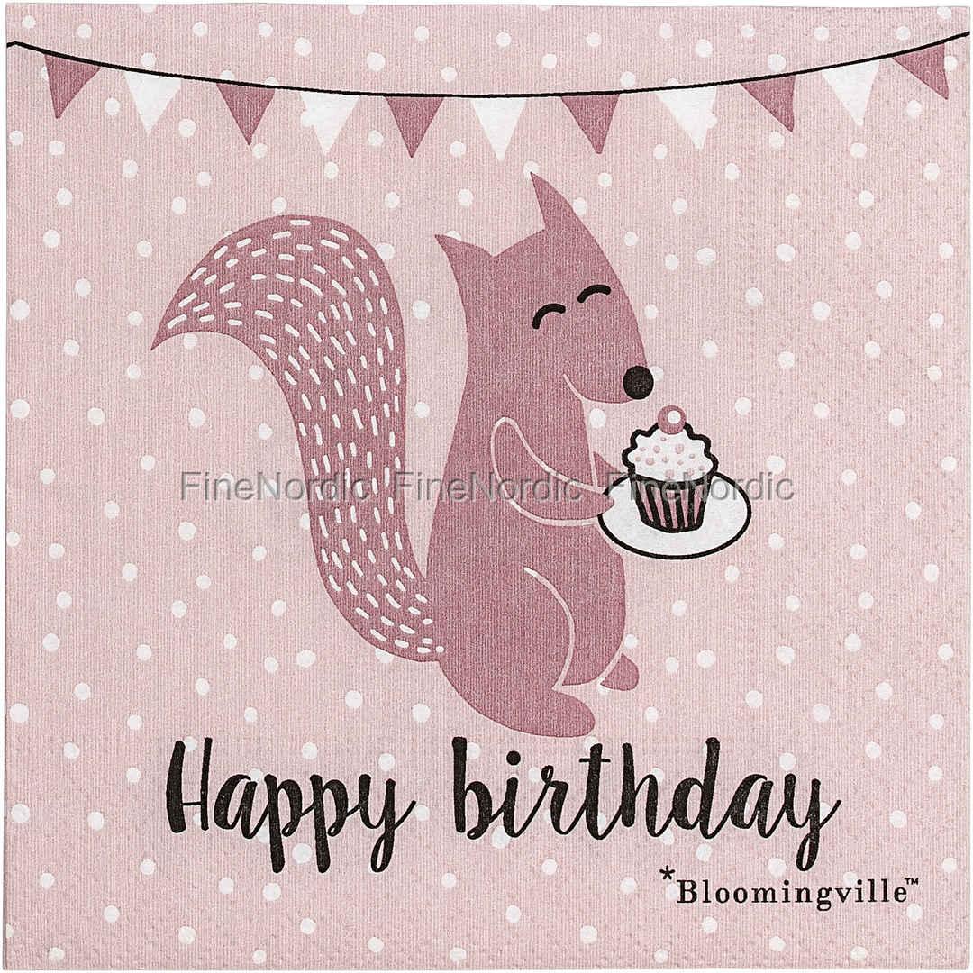 Bloomingville Papierservietten Geburtstag Rosa 20 Stck
