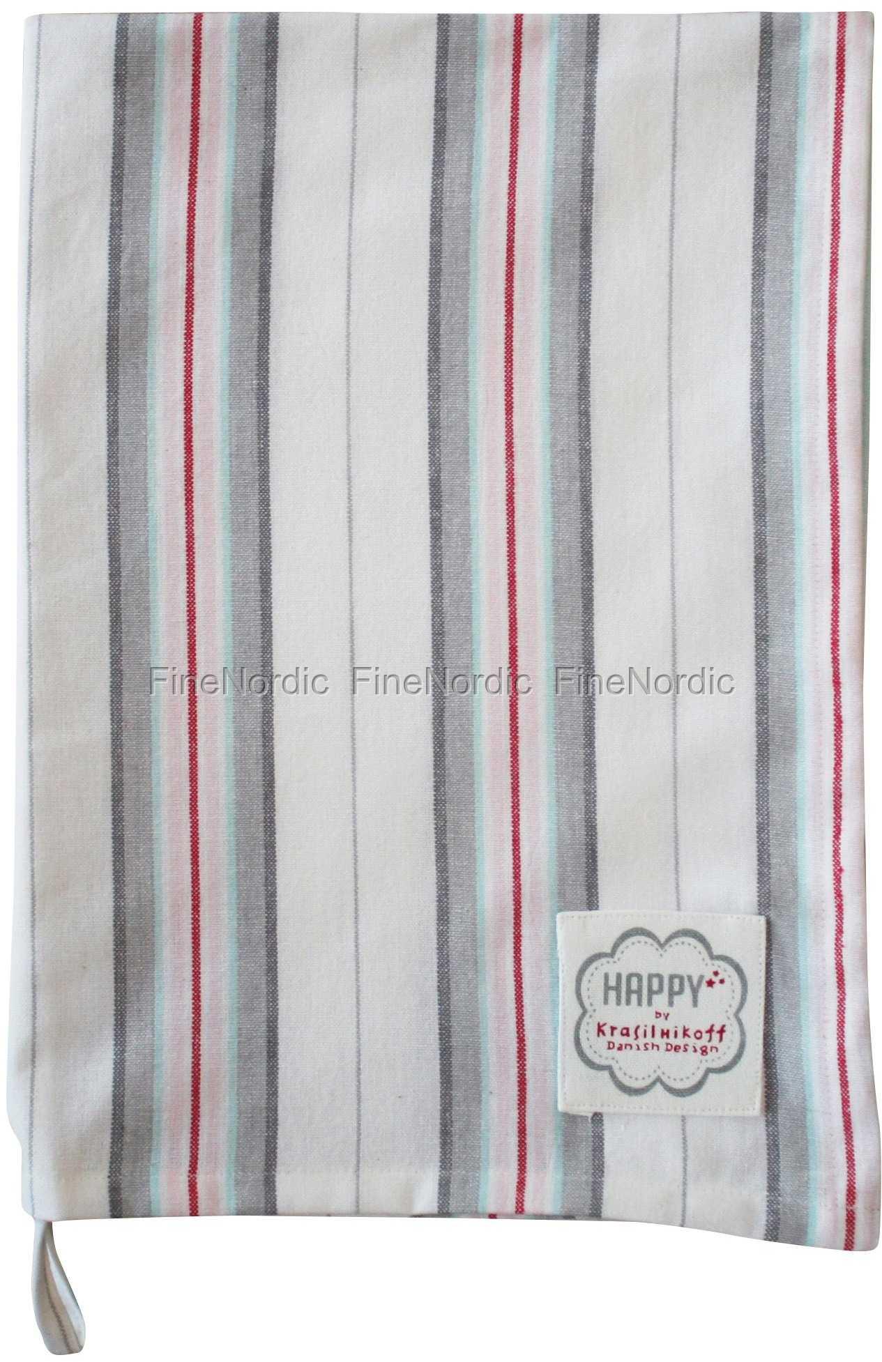 Krasilnikoff Geschirrtuch Red Big Stripes