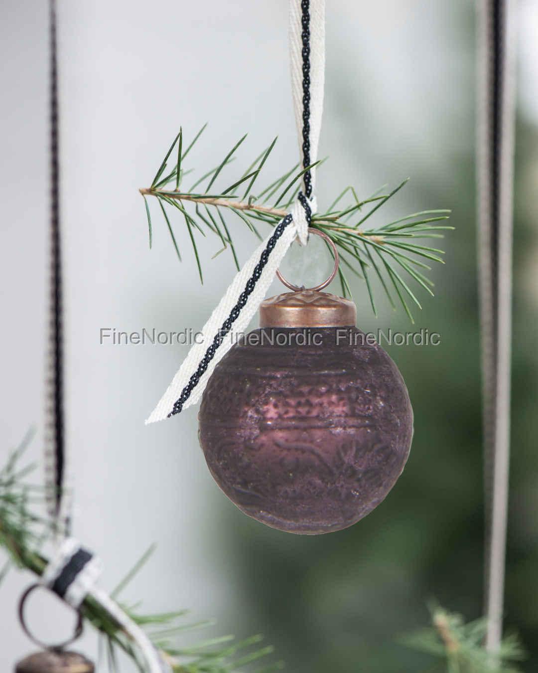 Bauernsilber Christbaumkugeln.Ib Laursen Weihnachtskugel Gemustert Bauernsilber Aubergine
