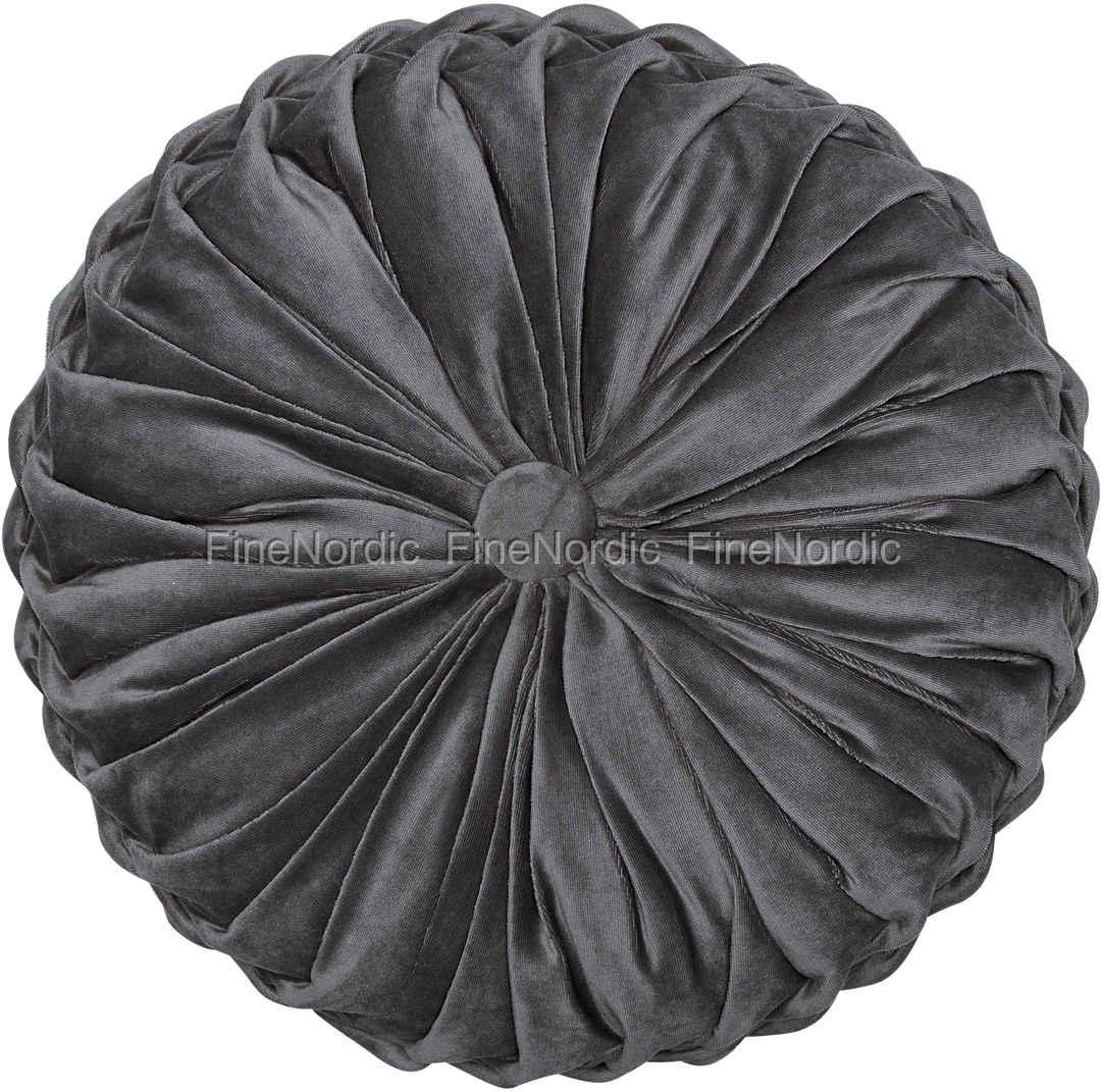 greengate kissen mit f llung cushion round pale grey with ruffle 40 x 40 cm. Black Bedroom Furniture Sets. Home Design Ideas
