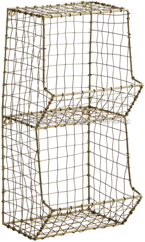 Madam Stoltz Drahtregal Metall Wire Antik Messing 2 Plätzen