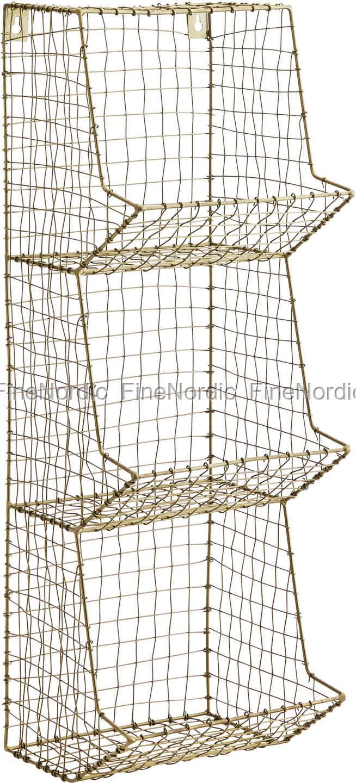 Madam Stoltz Drahtregal Metall Wire Antik Messing 3 Plätzen