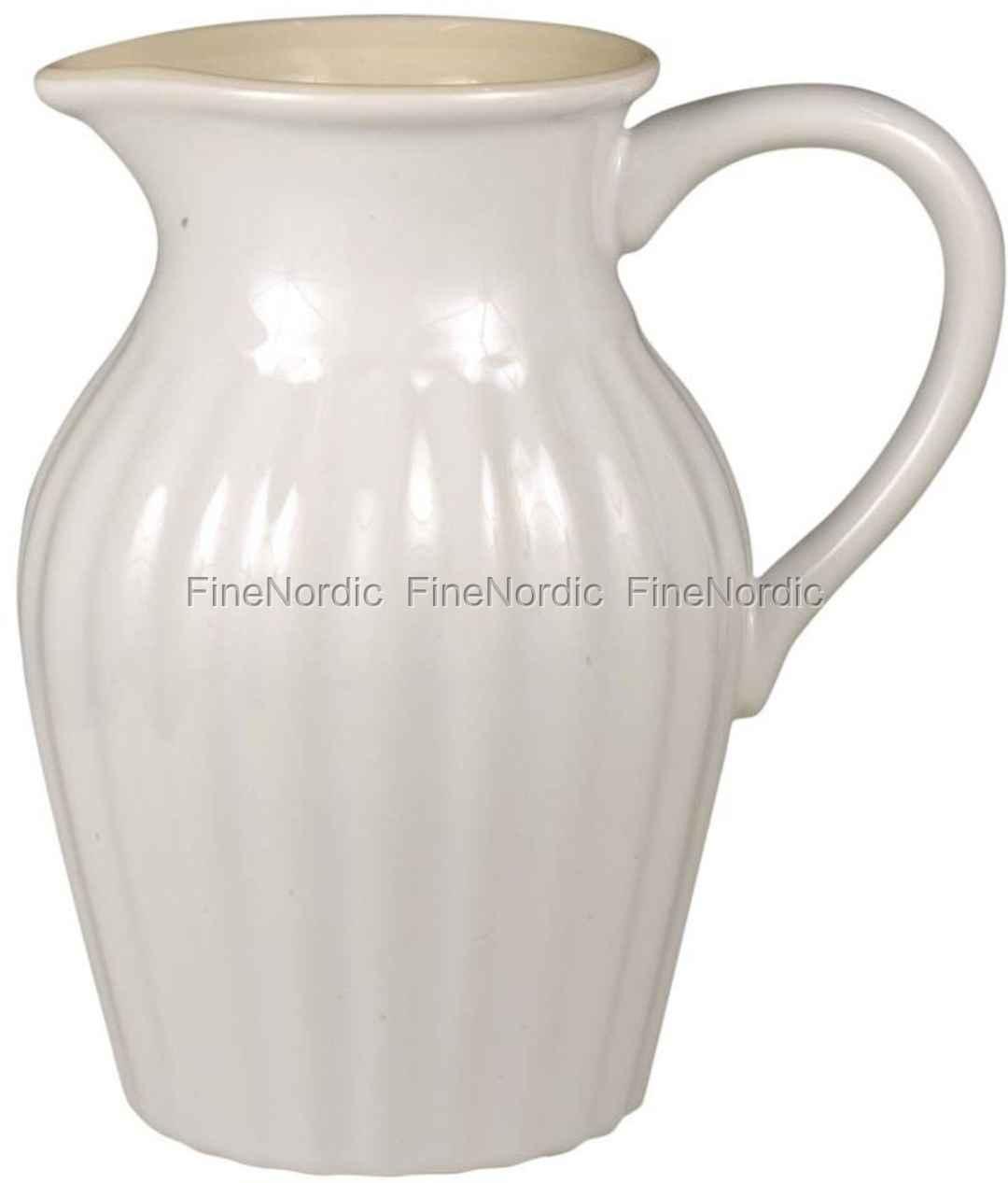 ib laursen geschirr kanne aus keramik mit rillen mynte pure white. Black Bedroom Furniture Sets. Home Design Ideas
