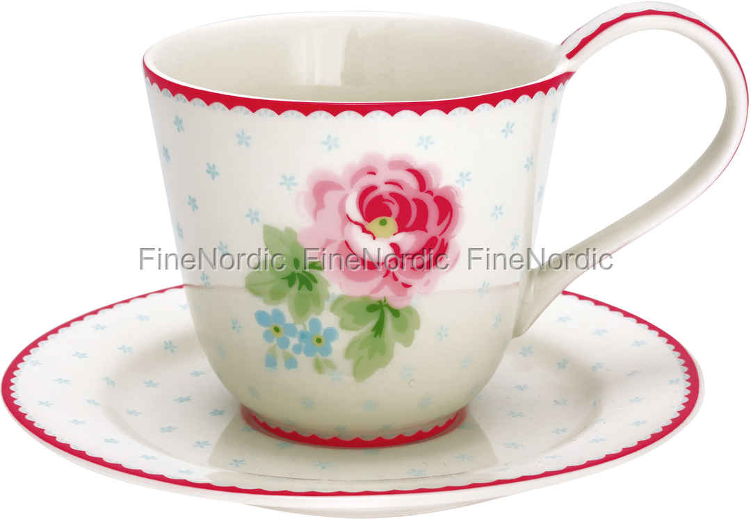 greengate tasse mit untertasse cup saucer lily white. Black Bedroom Furniture Sets. Home Design Ideas