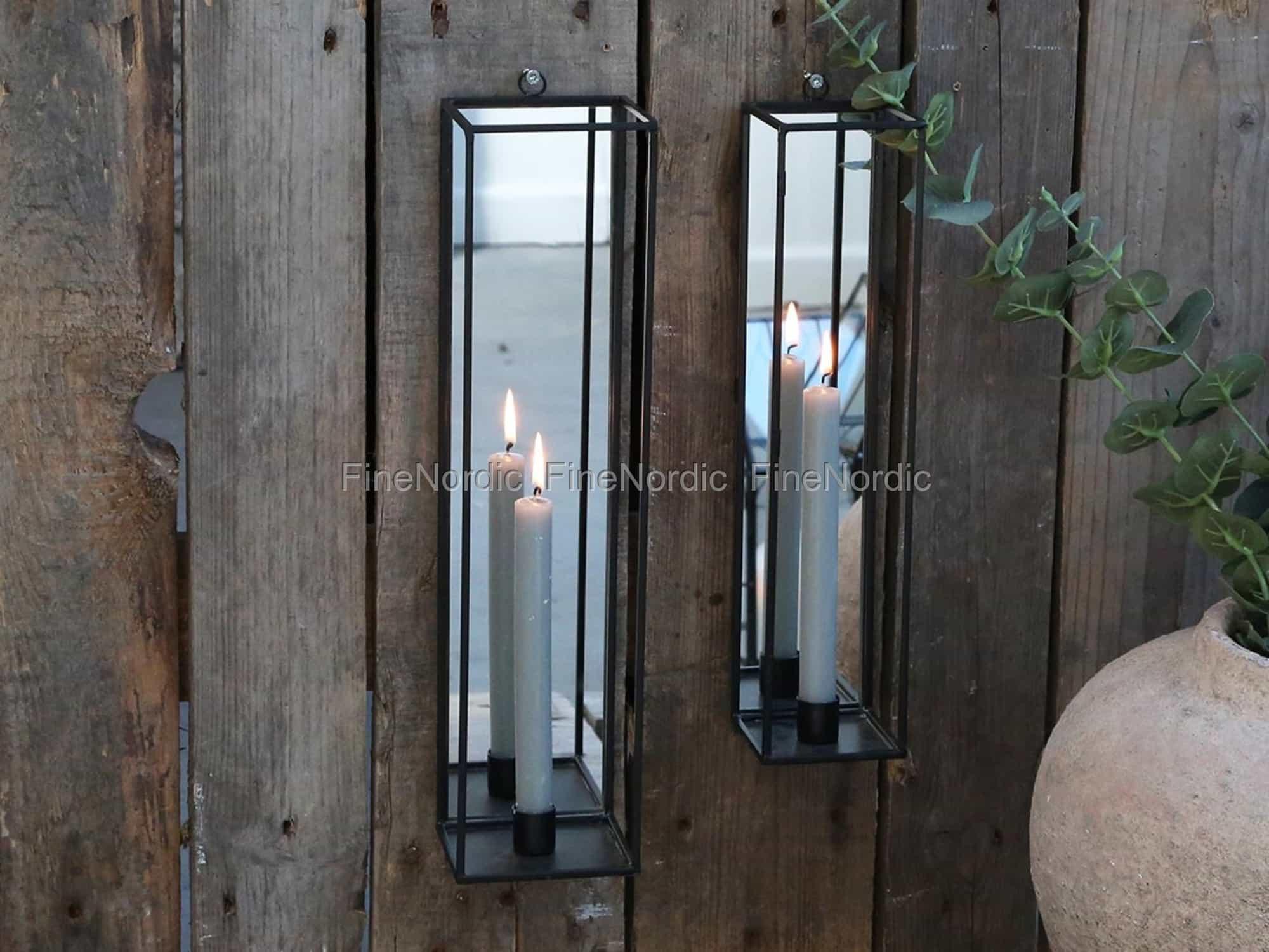 chic antique kerzenhalter f r wand mit spiegel antique kohle klein. Black Bedroom Furniture Sets. Home Design Ideas