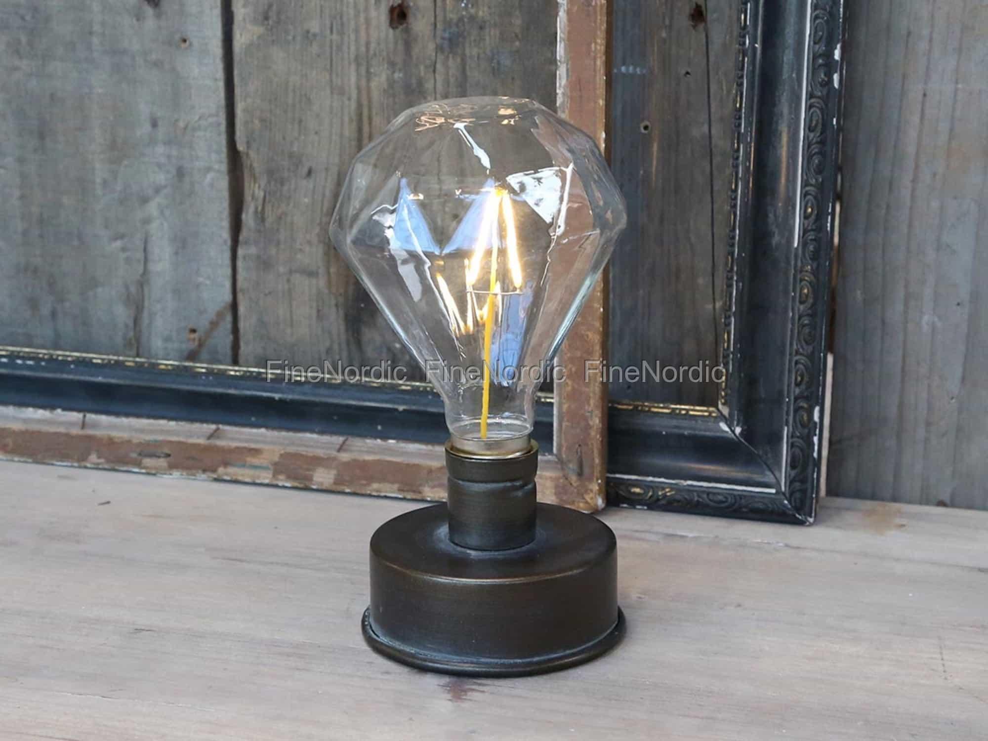 chic antique lampe mit diamant gl hbirne f r batterie. Black Bedroom Furniture Sets. Home Design Ideas