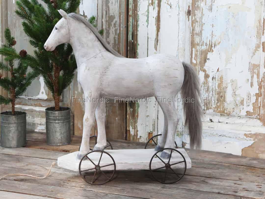 Chic Antique Vintage Pferd auf Räder Antique Creme Groß
