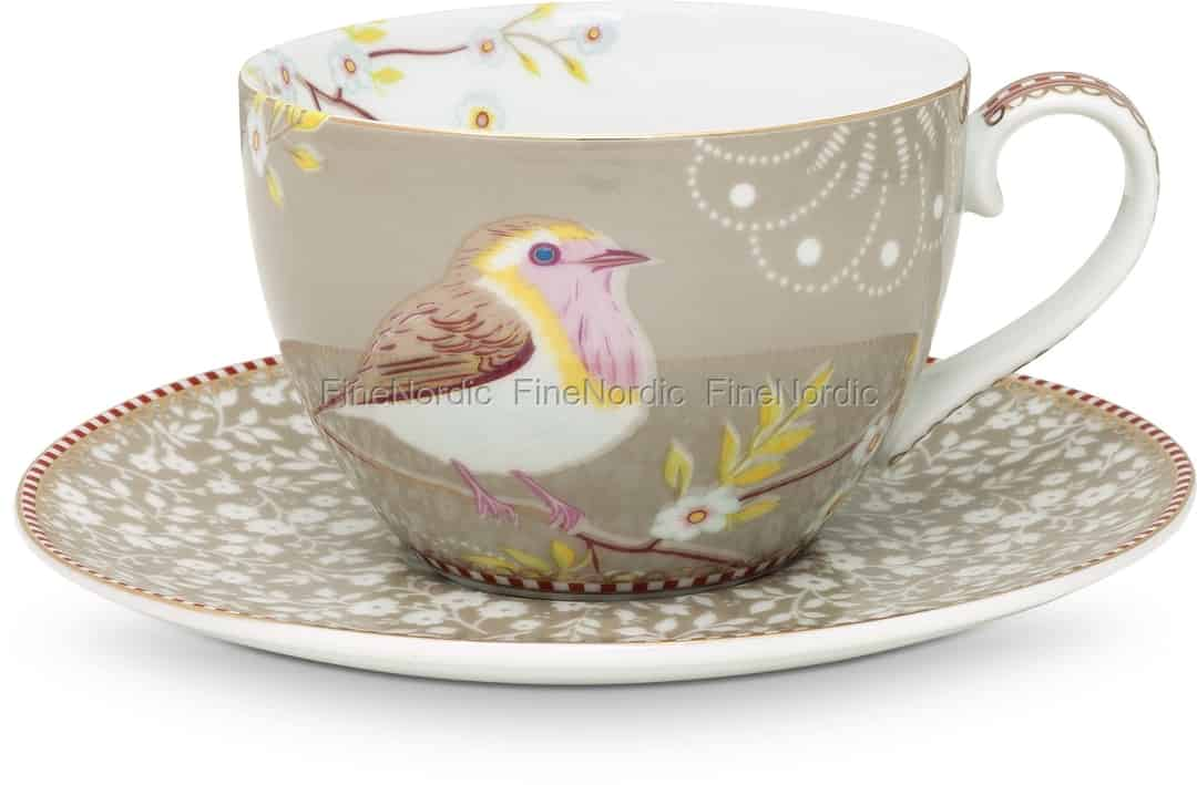 Pip Studio Floral Cappuccino Tasse Untertasse Early Bird Khaki