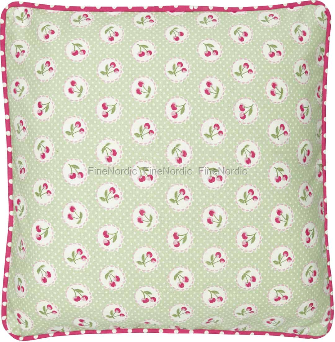 greengate kissenh lle cherry berry pale green 40 x 40 cm. Black Bedroom Furniture Sets. Home Design Ideas