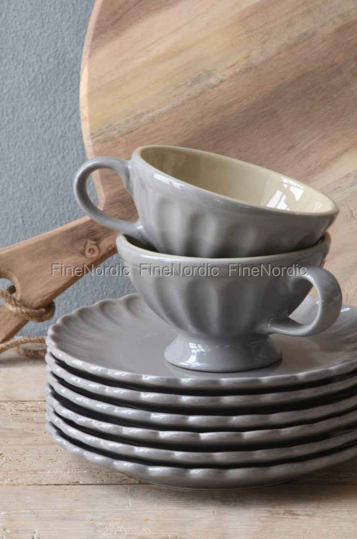ib laursen geschirr kuchenteller aus keramik grau. Black Bedroom Furniture Sets. Home Design Ideas